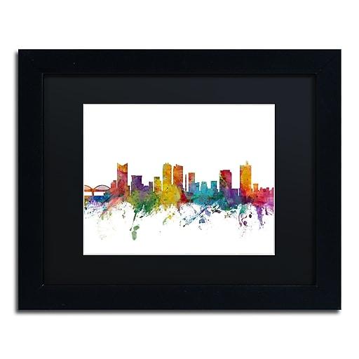 "Trademark Fine Art ''Fort Worth Texas Skyline'' by Michael Tompsett 11"" x 14"" Black Matted Black Frame (MT0586-B1114BMF)"