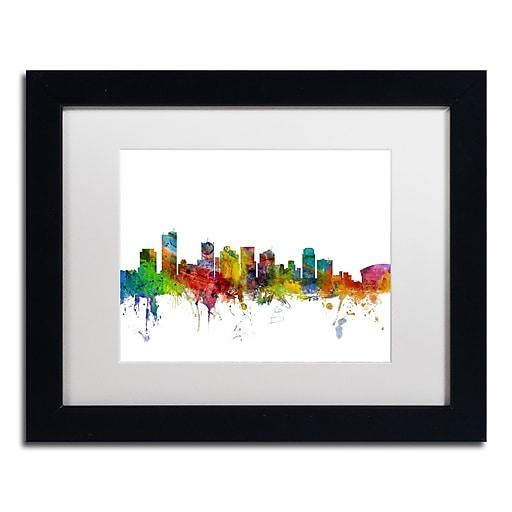 "Trademark Fine Art ''Phoenix Arizona Skyline'' by Michael Tompsett 11"" x 14"" White Matted Black Frame (MT0587-B1114MF)"