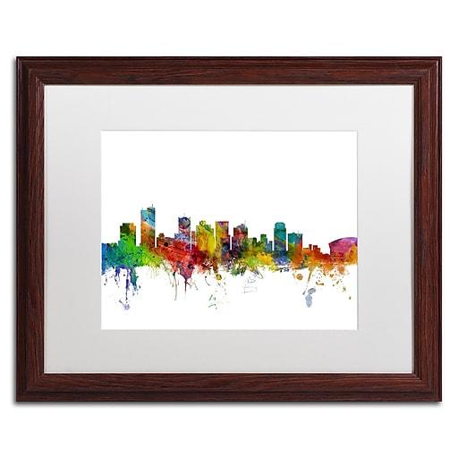 "Trademark Fine Art ''Phoenix Arizona Skyline'' by Michael Tompsett 16"" x 20"" White Matted Wood Frame (MT0587-W1620MF)"