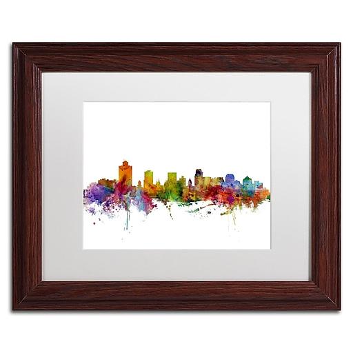 """Trademark Fine Art ''Salt Lake City Skyline'' by Michael Tompsett 11"""" x 14"""" White Matted Wood Frame (MT0589-W1114MF)"""
