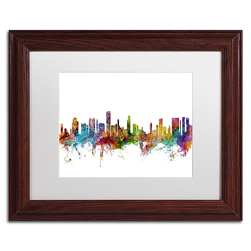"Trademark Fine Art ''Honolulu Hawaii Skyline'' by Michael Tompsett 11"" x 14"" White Matted Wood Frame (MT0590-W1114MF)"