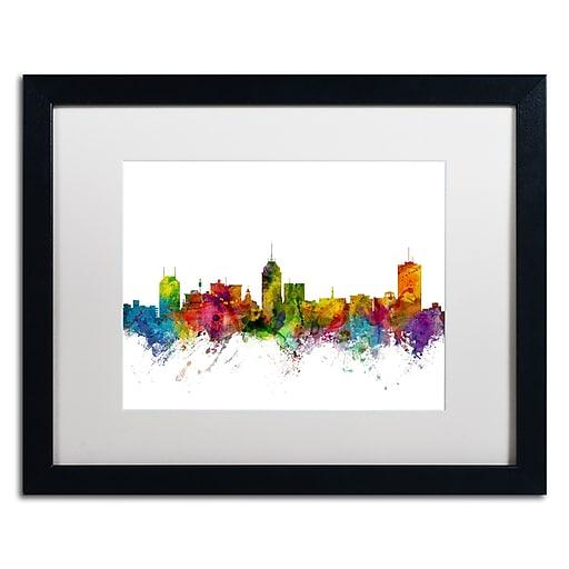 """Trademark Fine Art ''Fresno California Skyline'' by Michael Tompsett 16"""" x 20""""  Black Frame (MT0591-B1620MF)"""