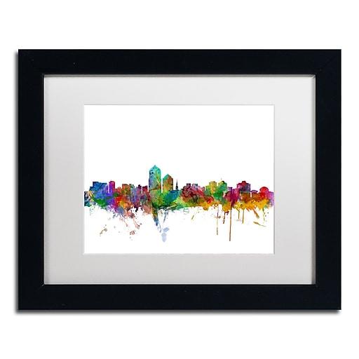 "Trademark Fine Art ''Albuquerque New Mexico Skyline'' by Michael Tompsett 11"" x 14"" Black Frame (MT0592-B1114MF)"
