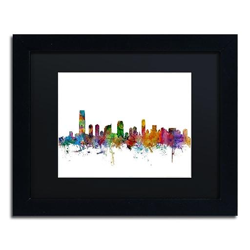 "Trademark Fine Art ''Jersey City New Jersey Skyline'' by Michael Tompsett 11"" x 14"" Black Frame (MT0594-B1114BMF)"