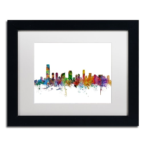 "Trademark Fine Art ''Jersey City New Jersey Skyline'' by Michael Tompsett 11"" x 14"" Black Frame (MT0594-B1114MF)"
