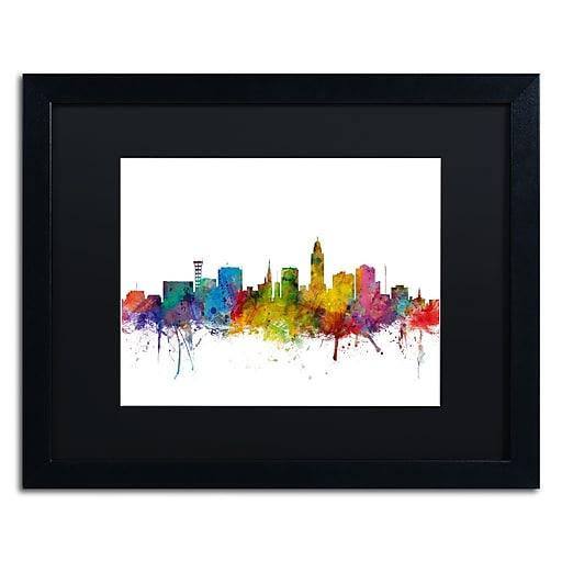"""Trademark Fine Art ''Lincoln Nebraska Skyline'' by Michael Tompsett 16"""" x 20""""  Black Frame (MT0595-B1620BMF)"""