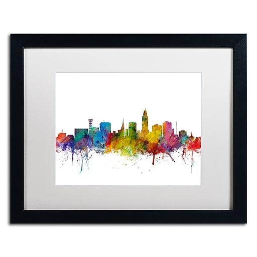 """Trademark Fine Art ''Lincoln Nebraska Skyline'' by Michael Tompsett 16"""" x 20""""  Black Frame (MT0595-B1620MF)"""