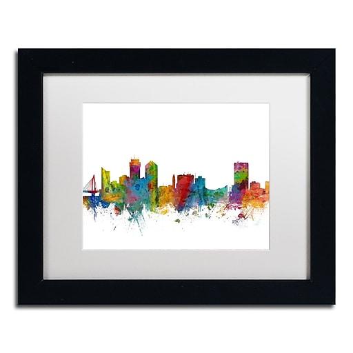 "Trademark Fine Art ''Wichita Kansas Skyline'' by Michael Tompsett 11"" x 14"" White Matted Black Frame (MT0597-B1114MF)"