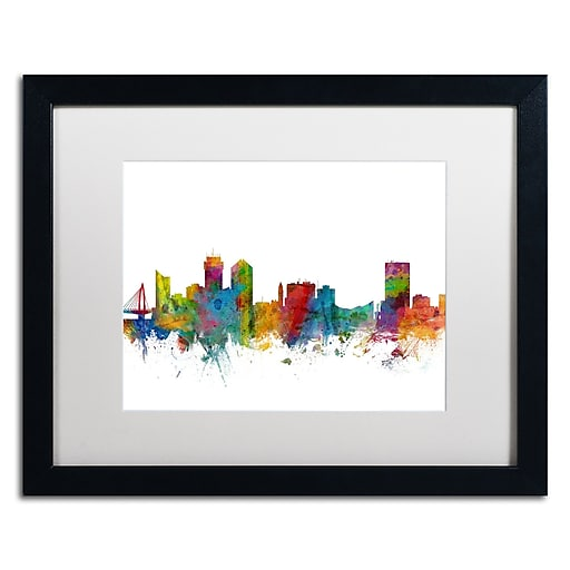 "Trademark Fine Art ''Wichita Kansas Skyline'' by Michael Tompsett 16"" x 20""  Black Frame (MT0597-B1620MF)"