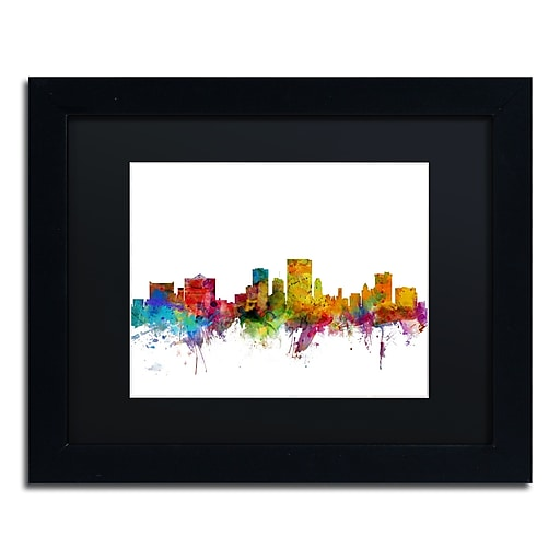 "Trademark Fine Art ''El Paso Texas Skyline'' by Michael Tompsett 11"" x 14"" Black Matted Black Frame (MT0598-B1114BMF)"
