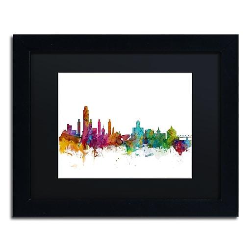 "Trademark Fine Art ''Albany New York Skyline'' by Michael Tompsett 11"" x 14"" Black Matted Black Frame (MT0599-B1114BMF)"