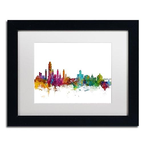 """Trademark Fine Art ''Albany New York Skyline'' by Michael Tompsett 11"""" x 14"""" White Matted Black Frame (MT0599-B1114MF)"""
