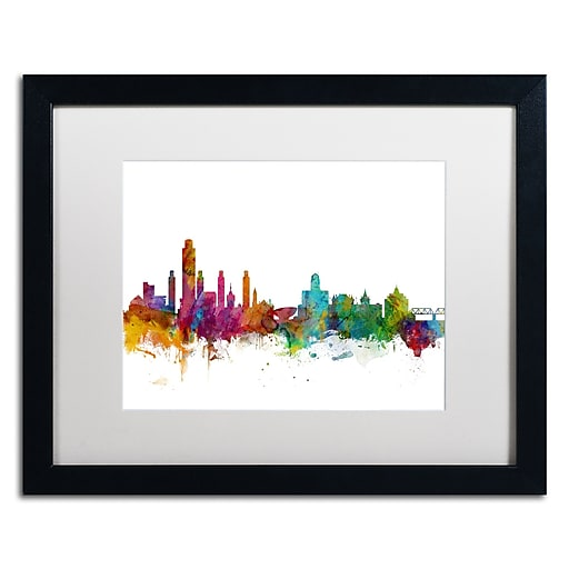 "Trademark Fine Art ''Albany New York Skyline'' by Michael Tompsett 16"" x 20""  Black Frame (MT0599-B1620MF)"