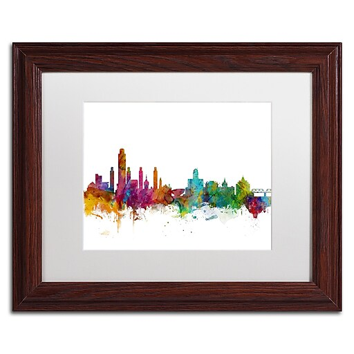 "Trademark Fine Art ''Albany New York Skyline'' by Michael Tompsett 11"" x 14"" White Matted Wood Frame (MT0599-W1114MF)"