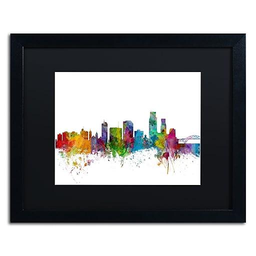 "Trademark Fine Art ''Corpus Christie Texas Skyline'' by Michael Tompsett 16"" x 20""  Black Frame (MT0600-B1620BMF)"