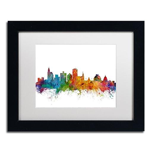 """Trademark Fine Art ''Jackson Mississippi Skyline'' by Michael Tompsett 11"""" x 14"""" White Matted Black Frame (MT0601-B1114MF)"""