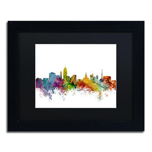 "Trademark Fine Art ''Lansing Michigan Skyline'' by Michael Tompsett 11"" x 14"" Black Matted Black Frame (MT0602-B1114BMF)"