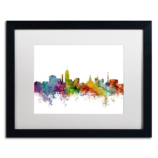 "Trademark Fine Art ''Lansing Michigan Skyline'' by Michael Tompsett 16"" x 20""  Black Frame (MT0602-B1620MF)"