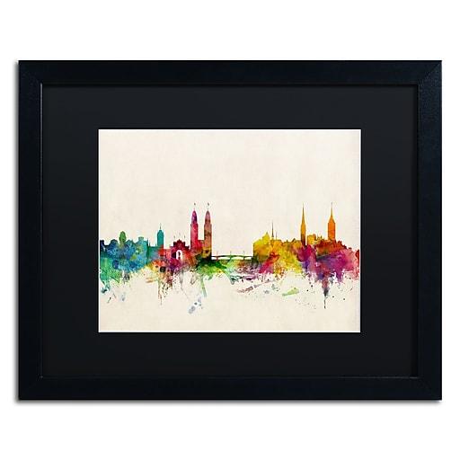 """Trademark Fine Art ''Zurich Switzerland Skyline'' by Michael Tompsett 16"""" x 20""""  Black Frame (MT0604-B1620BMF)"""
