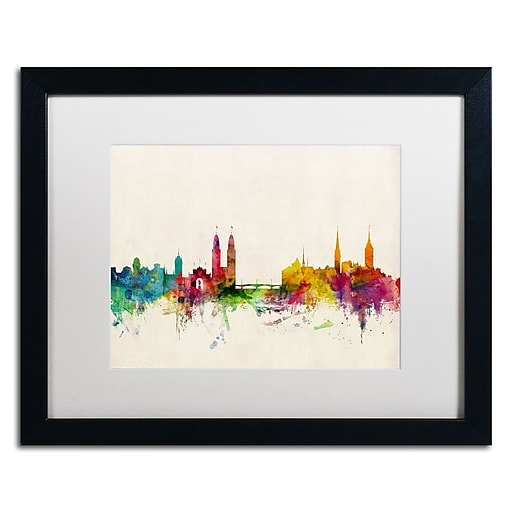 "Trademark Fine Art ''Zurich Switzerland Skyline'' by Michael Tompsett 16"" x 20""  Black Frame (MT0604-B1620MF)"