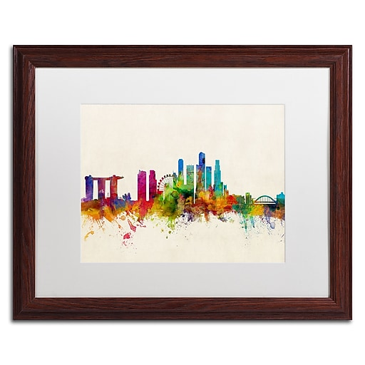 "Trademark Fine Art ''Singapore Skyline'' by Michael Tompsett 16"" x 20"" White Matted Wood Frame (MT0606-W1620MF)"