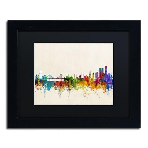 "Trademark Fine Art ''Istanbul Turkey Skyline'' by Michael Tompsett 11"" x 14"" Black Matted Black Frame (MT0607-B1114BMF)"