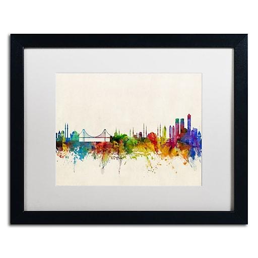 "Trademark Fine Art ''Istanbul Turkey Skyline'' by Michael Tompsett 16"" x 20"" White Matted Black Frame (MT0607-B1620MF)"