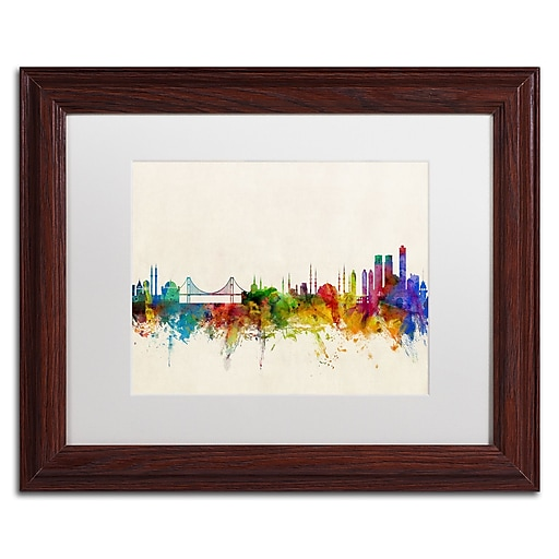 "Trademark Fine Art ''Istanbul Turkey Skyline'' by Michael Tompsett 11"" x 14"" White Matted Wood Frame (MT0607-W1114MF)"