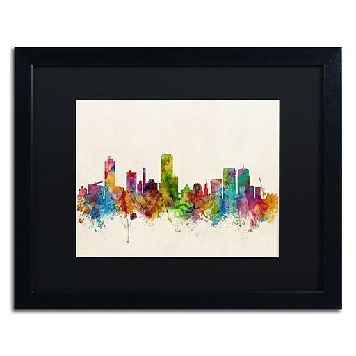 "Trademark Fine Art ''Wellington New Zealand Skyline'' by Michael Tompsett 16"" x 20"" Black Frame (MT0610-B1620BMF)"