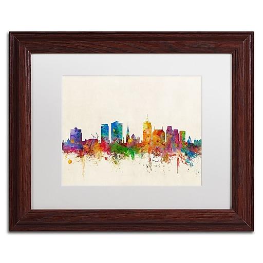 "Trademark Fine Art ''Christchurch New Zealand Skyline'' by Michael Tompsett 11"" x 14"" Wood Frame (MT0611-W1114MF)"