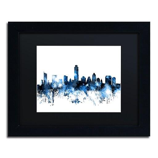 "Trademark Fine Art ''Austin Texas Skyline II'' by Michael Tompsett 11"" x 14"" Black Matted Black Frame (MT0614-B1114BMF)"