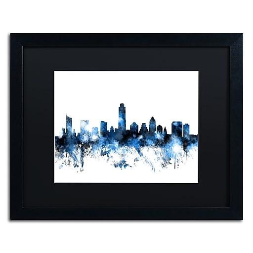 "Trademark Fine Art ''Austin Texas Skyline II'' by Michael Tompsett 16"" x 20"" Black Matted Black Frame (MT0614-B1620BMF)"