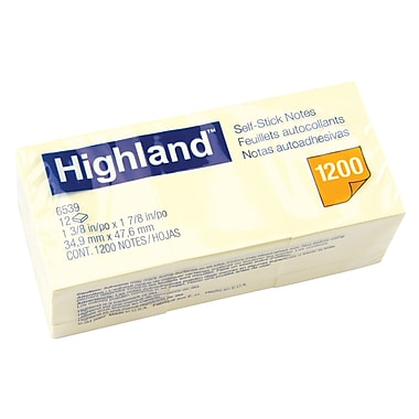 "Highland™ Removable Self Stick Note Pads, 1 1/2"" x 2"" Yellow, 12/Pack"