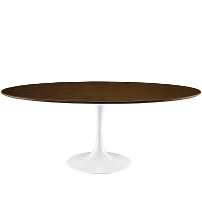 Modway 78''L Oval Wood Dining Table, Walnut (EEI-1661-WAL)