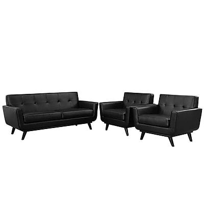 Modway Engage Leather Living Room Set, Black, 3 Pieces (EEI-1762-BLK-SET)