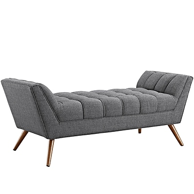 Modway Response Fabric Upholstered Bench, Gray (EEI-1789-DOR)