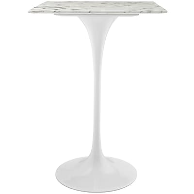Modway 28''L Artificial Marble Dining Table, White (EEI-1828-WHI)