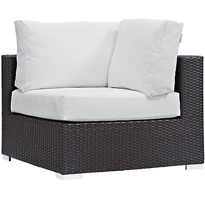 Modway Convene Outdoor Patio Outdoor Patio Patio Corner Chair, Espresso/White (EEI-1840-EXP-WHI)
