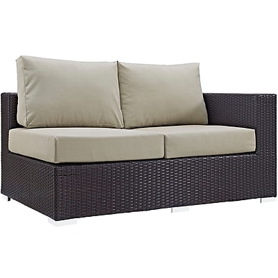 Modway Convene Outdoor Patio Right Arm Loveseat, Espresso Beige (EEI-1841-EXP-BEI)