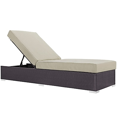 Modway Convene Outdoor Patio Chaise Lounge, Espresso Beige (EEI-1846-EXP-BEI)