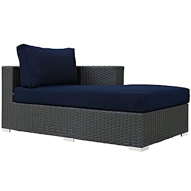 Modway Sojourn Outdoor Patio Right Arm Chaise, Antique Canvas Navy (EEI-1859-CHC-NAV)