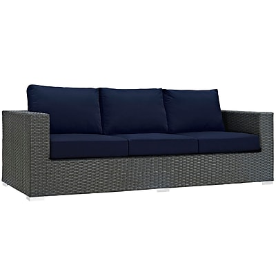 Modway Sojourn Outdoor Patio Sofa, Sunbrella Canvas Navy (EEI-1860-CHC-NAV)