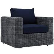 "Modway Summon 39""W Outdoor Fabric Armchair, Blue (EEI-1864-GRY-NAV)"