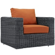 "Modway Summon 39""W Outdoor Patio Armchair with Fabric Cushions, Orange (EEI-1864-GRY-TUS)"