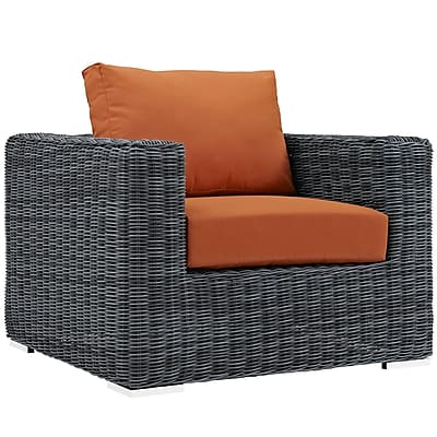 """Modway Summon 39""""W Outdoor Patio Armchair with Fabric Cushions, Orange (EEI-1864-GRY-TUS)"""