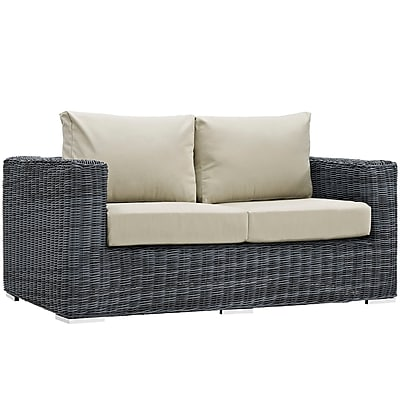 Modway Summon Outdoor Patio Loveseat, Sunbrella Antique Canvas Beige (EEI-1865-GRY-BEI)