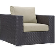 """Modway Convene 37.5""""W Outdoor Patio Armchair with Fabric Cushions, Brown (EEI-1906-EXP-BEI)"""