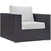 "Modway Convene 37.5""W Outdoor Patio Armchair with Cushions, Espresso/White (EEI-1906-EXP-WHI)"