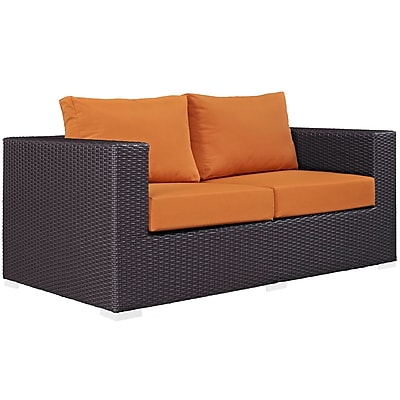 Modway Convene Outdoor Patio Loveseat, Espresso Orange (EEI-1907-EXP-ORA)