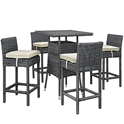 Modway Summon Outdoor Patio Pub Set (EEI-1971-GRY-BEI-SET)